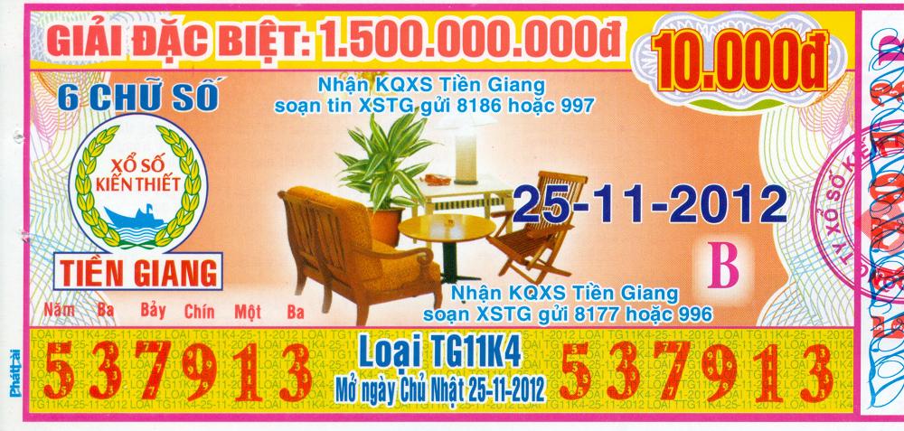 Mẫu vé số Miền Nam ngày 25/11/2012